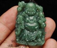 Talladas a mano Natural chino Hetian Jade colgante – verde Jade tallado buda de la suerte amuleto collar de los colgantes