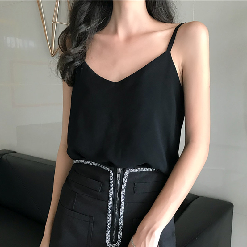 Chiffon Womens Tank Tops Sleeveless Blouse Tee T shirts Summer 2019 Sexy Vest Camisole Sexy V-Neck Crop Top White Blue Black