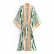 купить Deep V-Neck Kimono Dress Women's Casual Slim Printed Summer A-Line Short Sleeve Long Dress Fashion Beach Sashes Loose Dresses по цене 2496.63 рублей