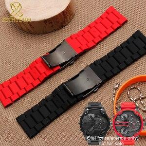 Image 4 - Impermeabile braccialetto in silicone per i diesel watch band 28 millimetri DZ7396 DZ7370 DZ428 gomma e cinturino in acciaio inox mens cinturino