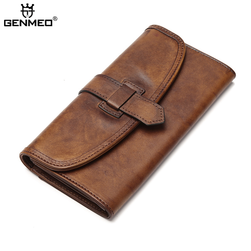 New Arrival Vintage Real Leather Wallet Men Business Genuine Leather Wallets with Card Holder Retro Cow Leather Purse Clutch Bag thinkthendo new male genuine cow leather wallet card package retro woven passport business cards holder