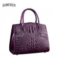 SUWERER Superior cowhide women Genuine Leather bags luxury women bag handbags fashion Crocodile designer women leather bag