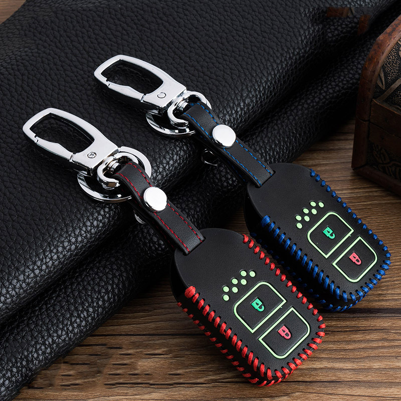 Hand sewing Luminous Leather Car Key Cover Case For Honda Vezel city civic Jazz BRV BR V HRV Fit Remote Key Jacket Car stying-in Key Case for Car from Automobiles & Motorcycles