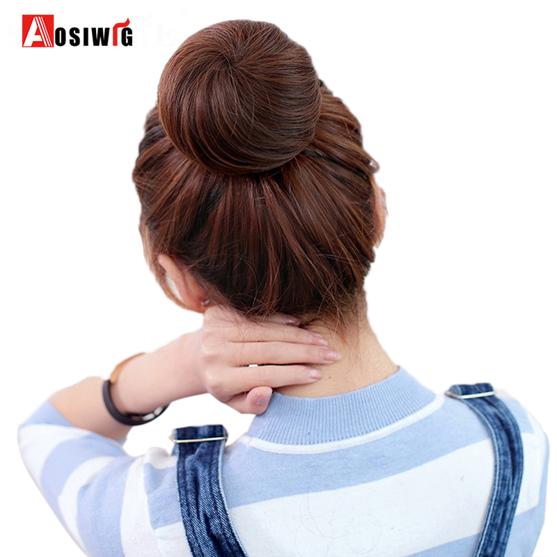 AOSIWIG Short Straight Hair Bun Heat Resistant Synthetic