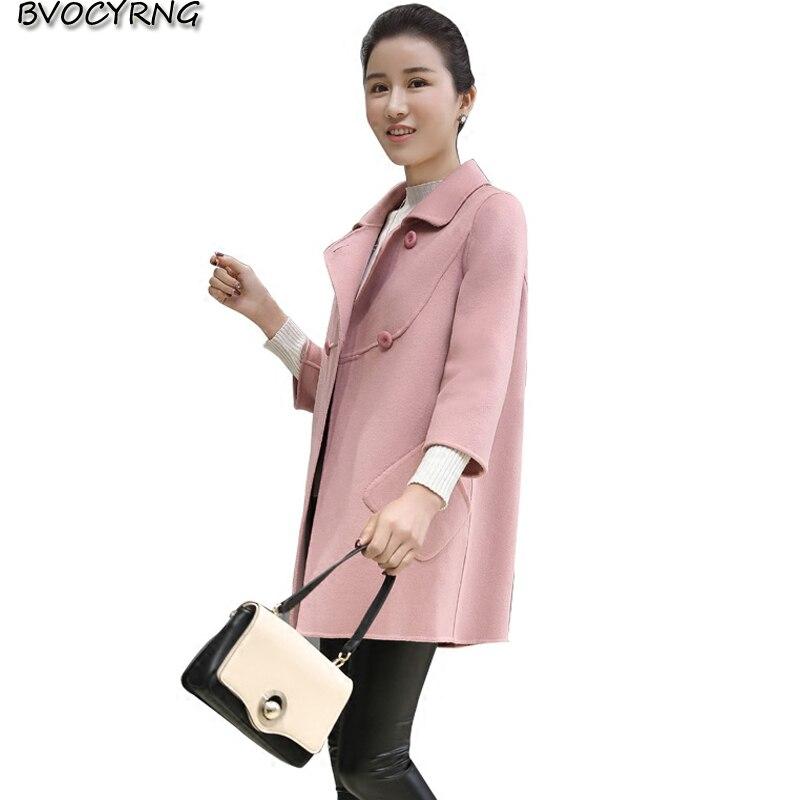 2017Spring Autumn Fashion Medium Long coat Lapel Temperament Women Loose Cloth Coat High-end Cloth Cashmere Jacket Parka Q658
