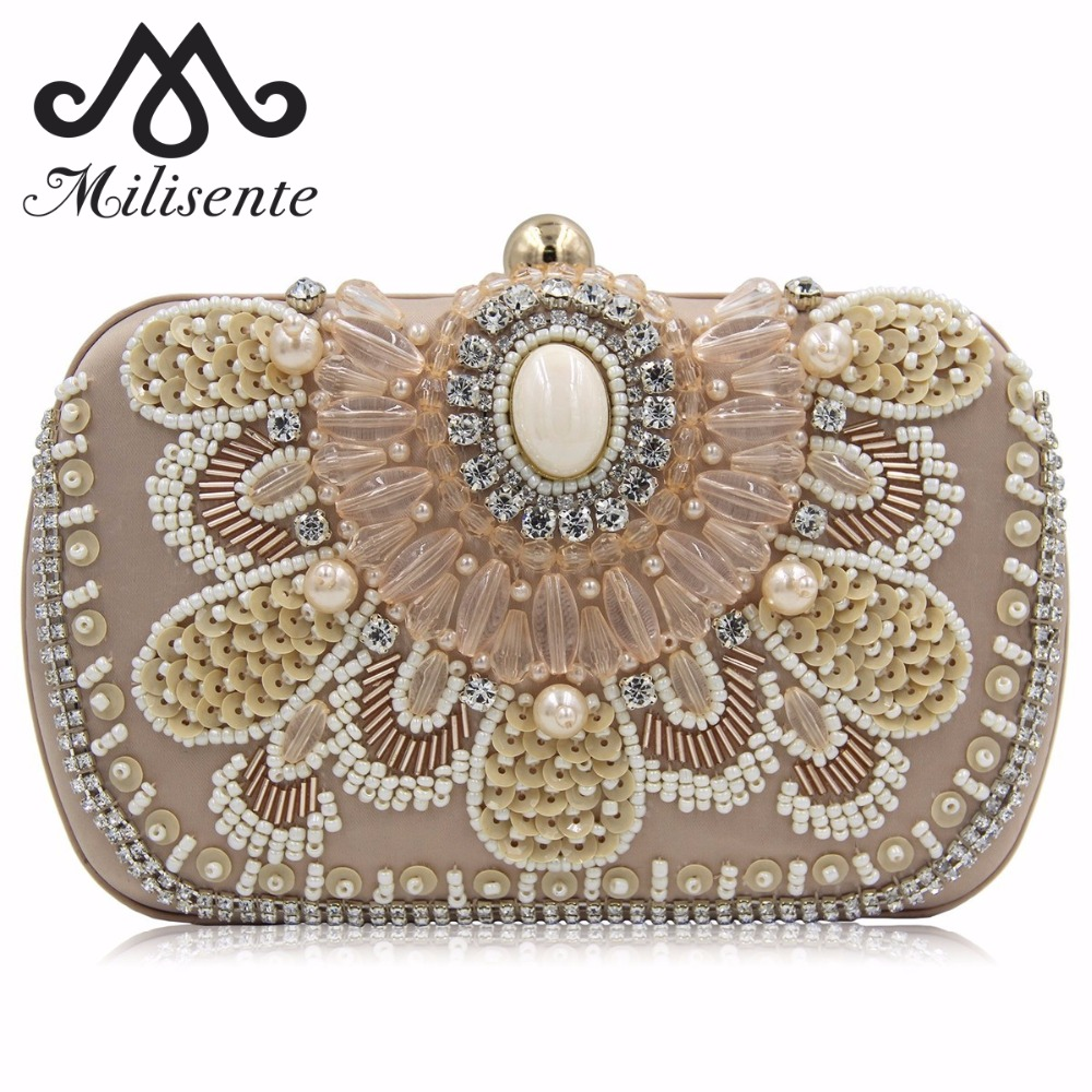 Milisente Brand Women Wedding Bags Pearl Beaded Evening Bag Bridal Clutch Clutches
