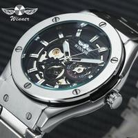 WINNER Top Brand Luxury Men Mechanical Watch Skeleton Golden Stainless Steel Strap Fashion Design Business Automatic Wristwatch