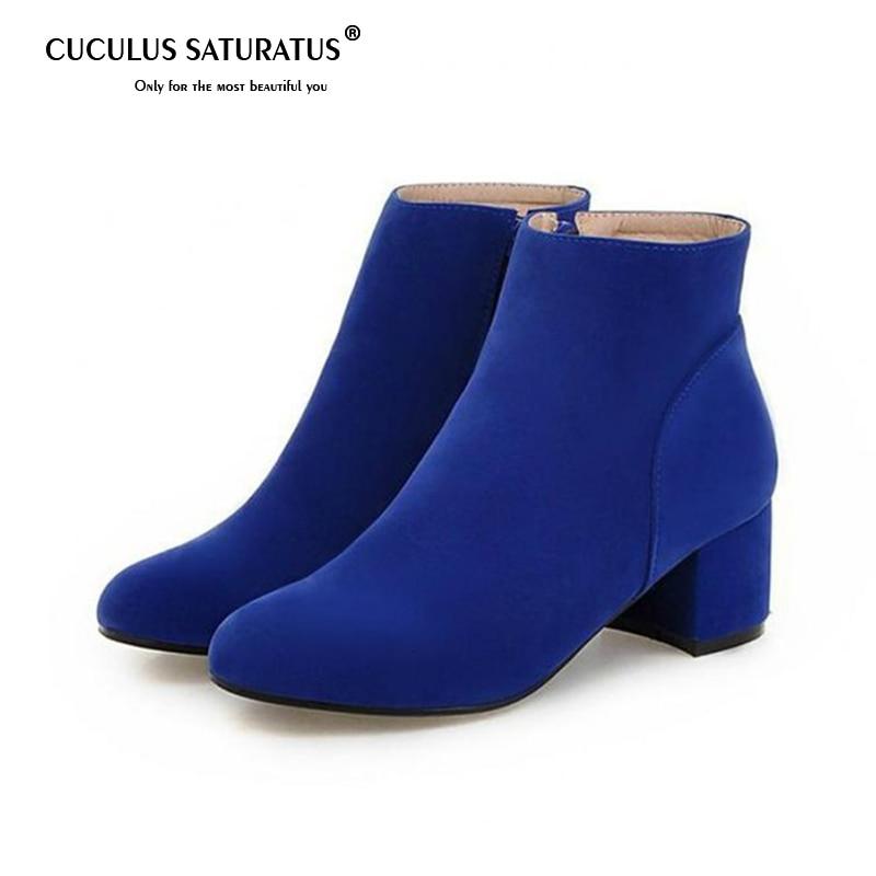 Cuculus 2019 Spring Autumn Blue Side Zippers Martin Boots Block Heel Women  Ankle Booties 1995 605e2be1d8f1