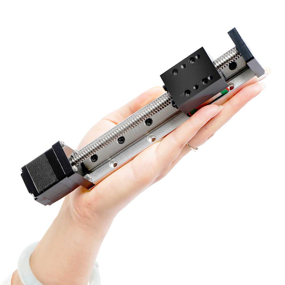 Mini Atuador Linear Guia Trilho Deslizante CNC Pequeno Palco Parafuso Chumbo Nema Sistema de Tabela De Movimento 11 Robô Parte Motorzied Stepper motor