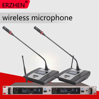 Wireless Microphone System 307GT Professional Microphone 2 Channel UHF Dynamic Professional 2 Conference Gooseneck Desktop