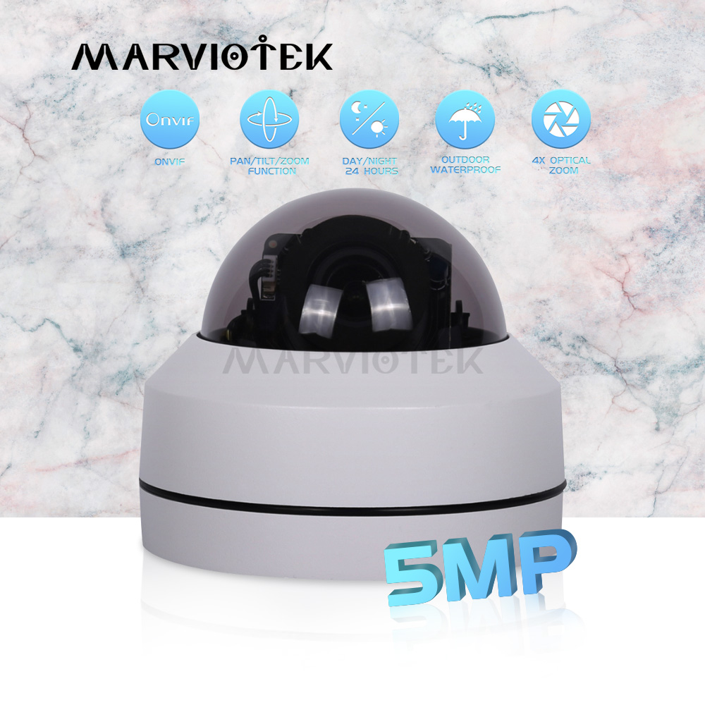 Mini PTZ IP Camera 5MP HD Waterproof Home Security CCTV Cameras Outdoor 4X Motorized Zoom P2P PTZ Dome Camera Night Vision Onvif