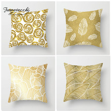 Fuwatacchi Floral Cushion Cover Feather Leaves Gold  Pillow Cover for Decor Sofa Chair Square Decorative Pillowcases fuwatacchi floral cushion cover feather leaves gold pillow cover for decor sofa chair square decorative pillowcases