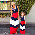 Família Roupas Combinando Meninas patchwork Define crianças Conjuntos de roupas mãe e filha vestidos de praia Roupas Menina chevron maxi vestido da listra