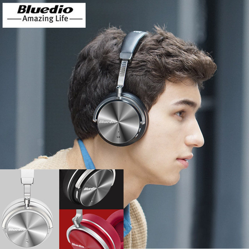 цена Bluedio T4 Headphones bluetooth Headset Wireless headphone portable wireless sound Headset with Mic ANC folable headband