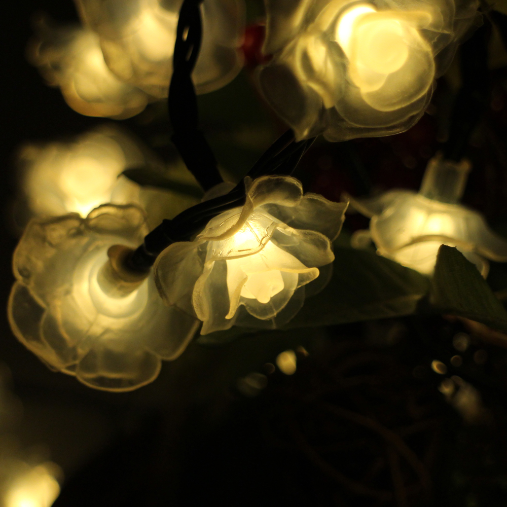 6m 30led Rose Flower Battery Powered LED String Lights Waterproof Christmas Fairy Lights Wedding Party Garden Holiday Decoration
