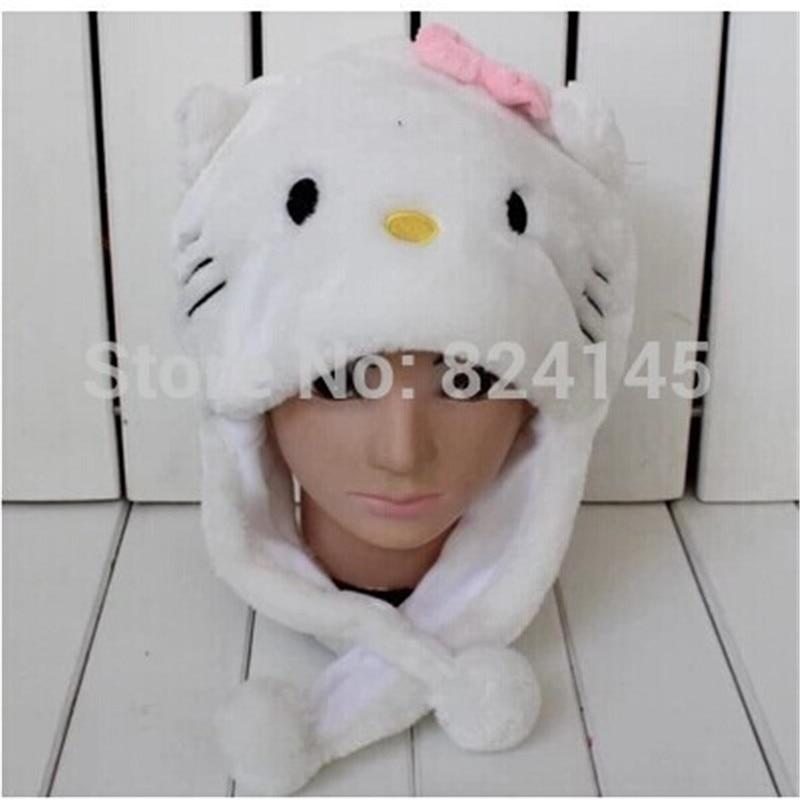 Beanie beanie Cartoon animal hat - white KITTY pink bow hat Children  Caps>>Skullies & Beanies