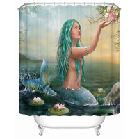Bathroom Products Printed Polyester Bath Curtain Green hair mermaid Style Shower Curtain