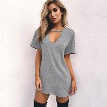 Летняя женская футболка, мини платье, чокер, v-образный вырез, платья с коротким рукавом, повседневное, сексуальное, Холтер, бохо, Пляжное Платье, Vestidos, Мини Размер