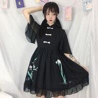 Japanese Vintage Floral Short Sleeve White Dresses Women Summer Lolita Cosplay Harajuku Cute Chiffon Black Cheongsam Fairy Dress