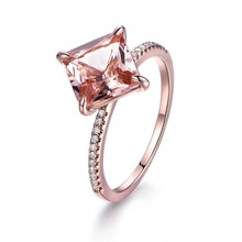 MYRAY 14k Rose Gold 8mm Princess Cut Natural Pink Morganite Diamond Band Engagement Ring Women Wedding Anniversary Gift Rings