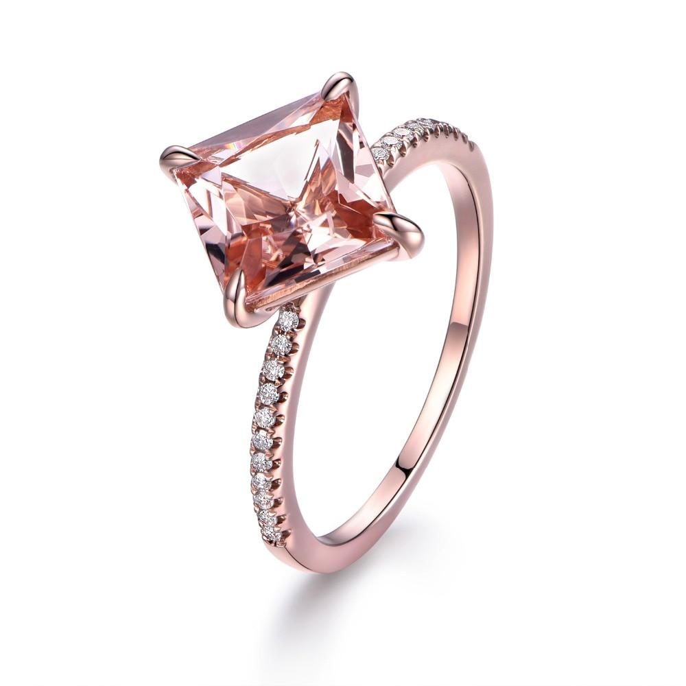 Myray 14k Rose Gold 8mm Princess Cut Natural Pink Morganite Diamond Band Engagement  Ring Women Wedding