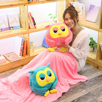 Babiqu 1pc 50cm Big Owl Plush Toy with Blanket Cute Giant Large Stuffed Soft Doll Pillow for Kids Children Gift Kawaii Hand Warm