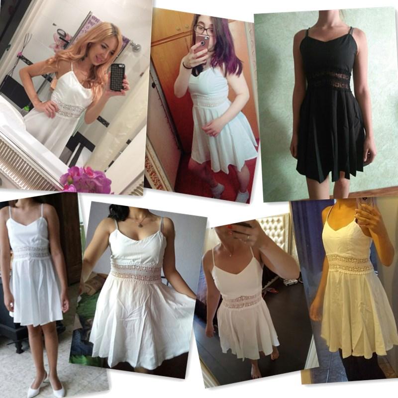 Women White Black Strap V Neck Lace Skater Party Mini Dress