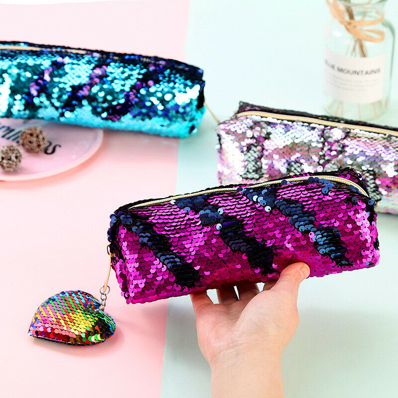 Purse Cosmetic-Bag Patchwork Make-Up-Cases Sequins Travel Beauty Zipper Portable Women