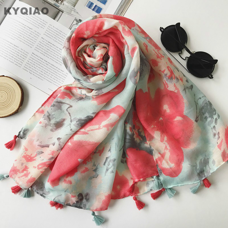 KYQIAO Women scarf 2018 female autumn winter ethnic elegant long red print scarf muffler Chinese clothing store