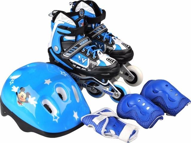 New design flashing kids skating shoes children roller skating roller  blading shoes set with helmet protector 79aaed57ee86