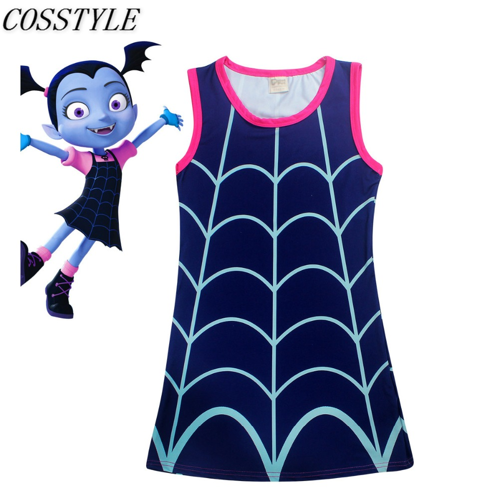 New Cartoon Cosplay Vampirina Costume Girls Vampire Dress Kids Sleeveless Crew Neck Summer Dress Children Clothes