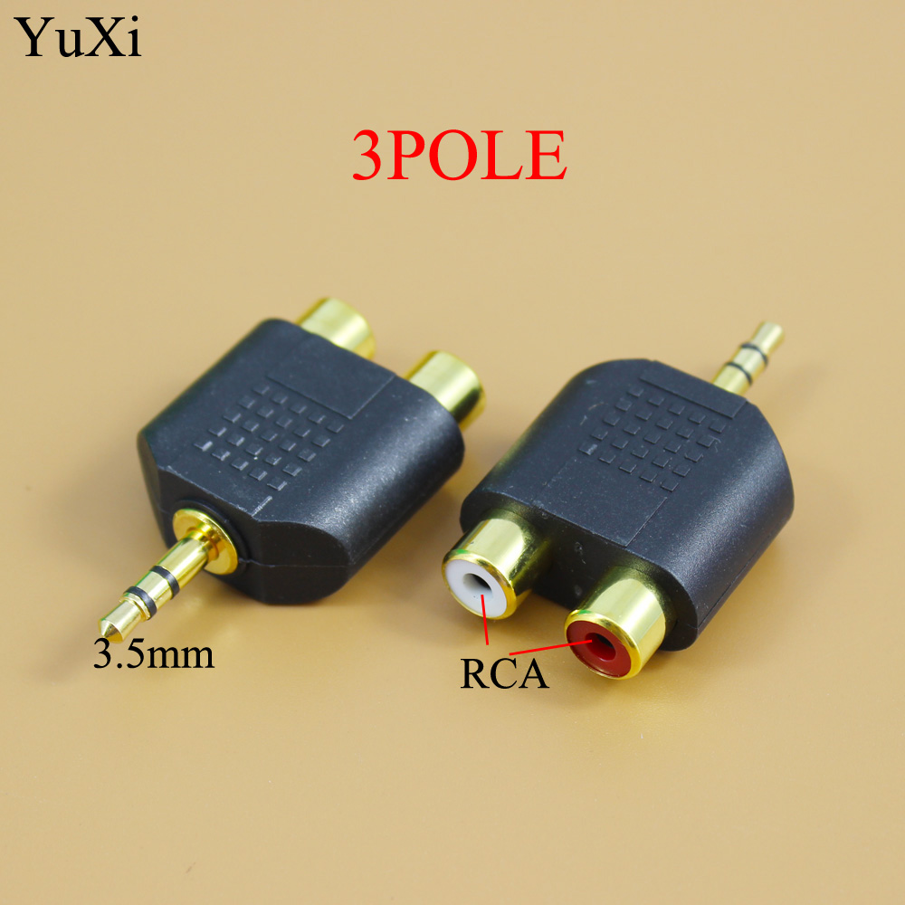 YuXi 1pc Gold Plated Stereo Audio Male Plug To 2 RCA Female Jack Y 3.5mm Adapter Gold /silver