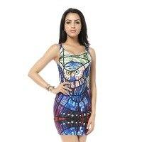 MWBAY Sexy Bandage Dresses Glass Owl Tank Dress Black Milk Digital Print Mini Bodycon Women Summer