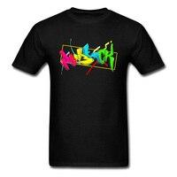 3D Letter Print Men Pen Black T Shirt Short Sleeve Colorful Cartoon Design Hip Hop Skateboard