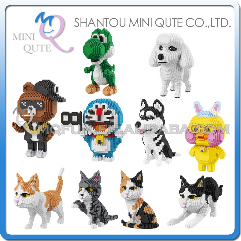 Mini Qute BALODY huge cartoon Animal Doraemon Cat Poodle Duck Husky building blocks brick action figures model educational toy long cable winder cute cartoon animal headphone earphone organizer wire holder action toy figures set