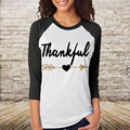 T Shirt Tops  Fashion Girls Comfortable Fit Tee Letter Printed Three Quarter Sleeve Splicing Casual Top Camisetas Mujer S/M/L/XL