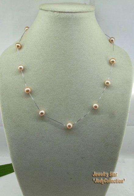 100% Venta de Imagen completa de 18 pulgadas Cadena de Plata Con Rosa Natural Fresh Water Pearls Necklace