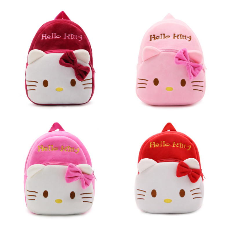 цены на New children plush backpack cartoon bags kids baby school bags cute Hello Kitty schoolbag for kindergarten girls gift