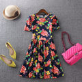 Printing Short sleeve O- neck  casual dress