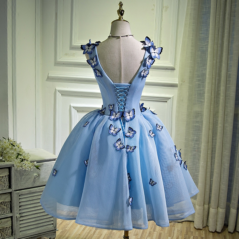 Butterfly Embroidery Cocktail Dresses Short Prom Dresses Graduation Gown  Blue Party Dresses Vestido Vestidos De Graduacion-in Cocktail Dresses from  Weddings ... 387e0dcab5b6