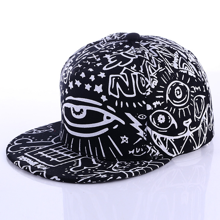 Hats New Arrival Graffiti eyes hat Hip-hop Hat fashion Vintage flat cap Baseball Cap #70014 new 2017 fashion unisex cap bones baseball cap snapbacks hat simple hip hop cap casual sports female hats wholesale