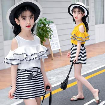 Teenage Girls clothing sets Fashion lace dew shoulder t-shirt Blouse + Shorts Party Two Piece Suit Kids Summer clothes Outfits