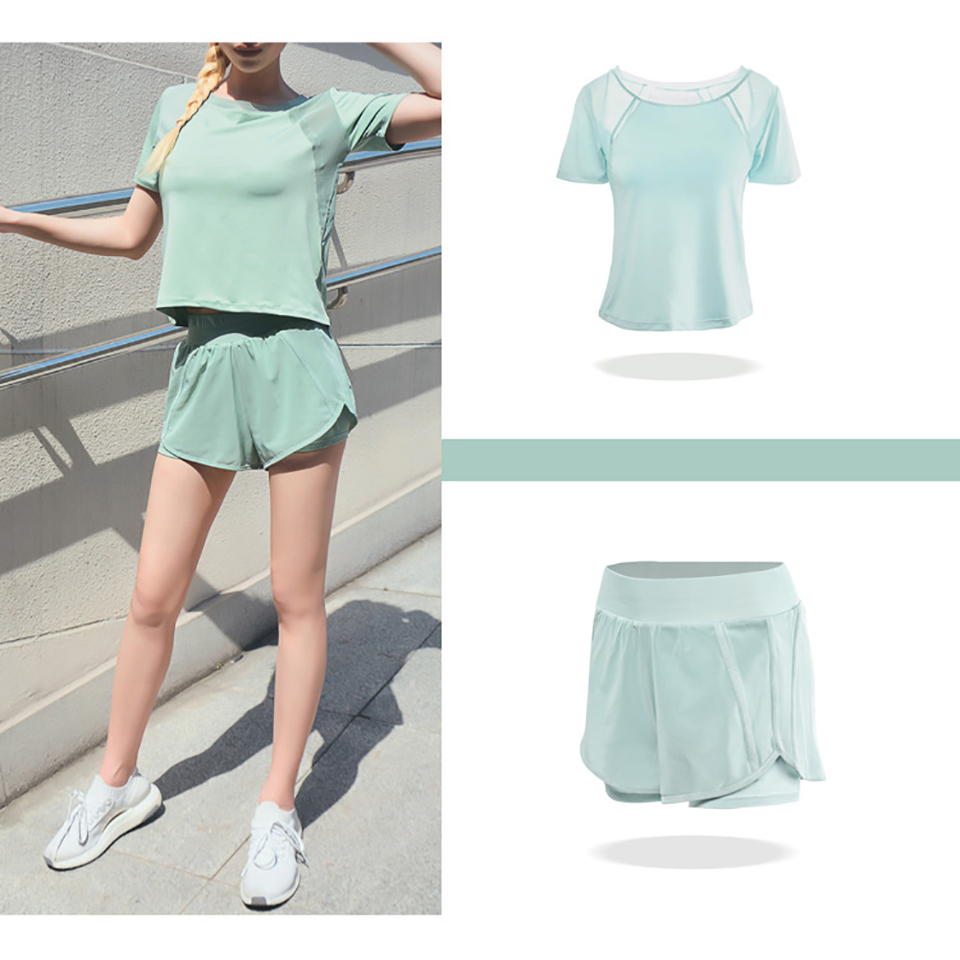 Women's Mesh Yoga Sets Running Tracksuit Fitness Clothing Sportswear Short Sleeve Tops Gym Shorts Breathable Quick Dry Clothes 21