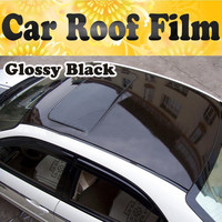Glossy Car Film With Bubble Free Black Car Roof Vinyl Film Stickers Auto Protective Car Styling