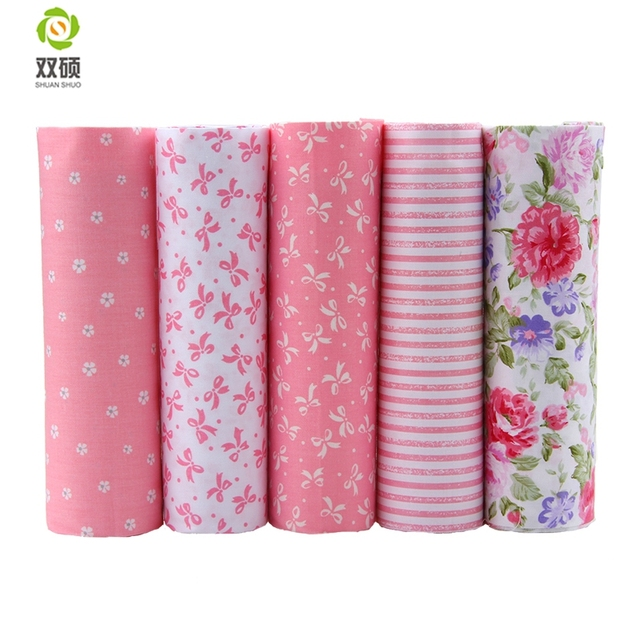 2016 Hot 5 Different Colors Pink Floral Cotton Fabric Patchwork Textile Sewing Fabric For  Doll Clothes Bags 40*50 cm A2-5-10