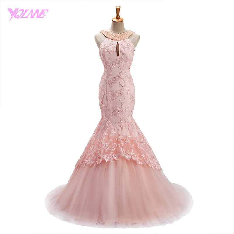 YQLNNE 2018 Blush Pink Long Prom Dresses Mermaid Evening Gown Halter ...