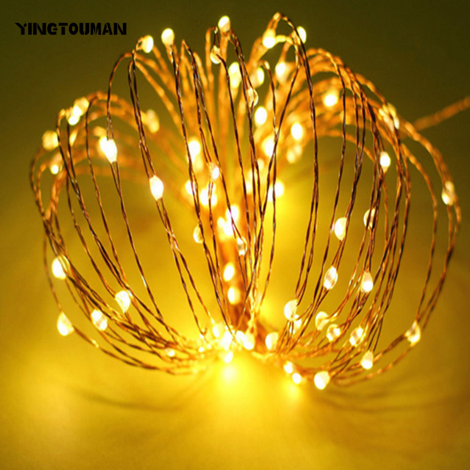 YINGTOUMAN 10m Battery Powered Outdoor Waterproof LED Lamp Festive Holiday Party Christmas Wedding String Light Decoration Light