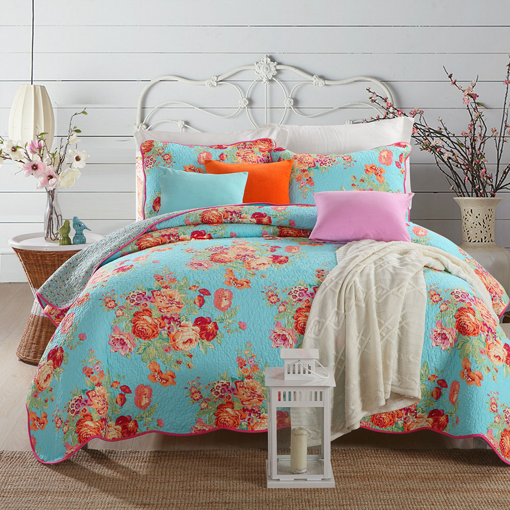 CHAUSUB Bedspread Quilt Set Coverlet 3PCS Washed Cotton Quilts Floral Print Quilted Bed Covers Pillow King Size Blanket On BedCHAUSUB Bedspread Quilt Set Coverlet 3PCS Washed Cotton Quilts Floral Print Quilted Bed Covers Pillow King Size Blanket On Bed