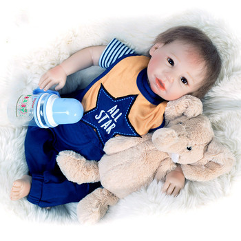 """Cute Reborn Boy Dolls 22""""52cm Silicone Reborn Baby Dolls Lovely Lifelike Boy Baby With Magnetic Pacifier Toys For Children Gift"""