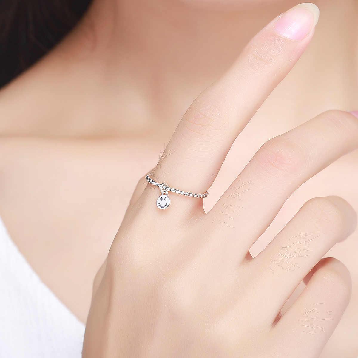 925 серебряных колец для женщин, модное серебряное кольцо со смайликом, женское Ювелирное Украшение для рождественской вечеринки, DAFANYU SCR147
